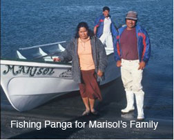 Fishing panga for Marisol's family